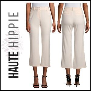 NWT HAUTE HIPPIE Cropped Flare Trousers, Cream 6